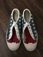 Vintage American Flag Sneakers Shoes Stars No Laces Sz 6 Made In USA