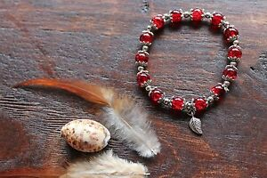 Gorgeous Handmade Red Glass Bead & Tibetan Silver Flower Stretch Beaded Bracelet