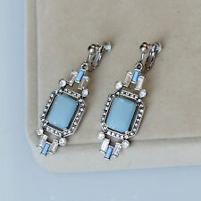 Boucles d`Oreilles Clip Argenté Art Deco Bleu Pale Pavé Goutte Retro Mariage B10