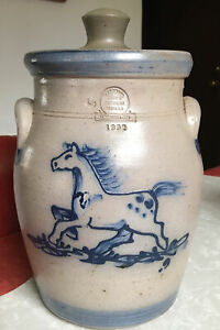 1992 Rowe Pottery Works Cookie Jar With Horse Theme