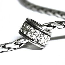 Brighton Oval Stone Spacer/Bead/Charm for Necklace or Bracelet-Silver & Crystals
