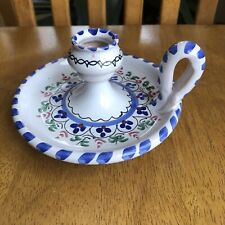 Polish Pottery Candle Holder Finger Loop Chamberstick Poland Taper Hand Painted