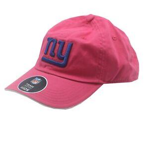 New York Giants Official NFL Kids Girls (7-16) OSFM Adjustable Pink Hat Cap New
