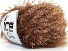 Cocoa Eyelash Yarn Ice Solid Medium Brown Fun Fur 22753