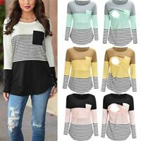 Women Maternity Long Sleeve Striped Nursing Tops T-shirt Breastfeeding Blouse UK