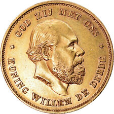 [#882045] Coin, Netherlands, William III, 10 Gulden, 1875, AU(50-53), Gold
