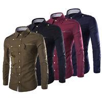 Neu Mode Herren Hemd T-Shirt Langarm Slim Fit Figurbetont Größe M-XXL E7Q8