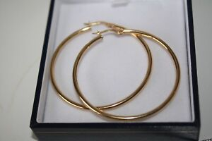 100% Genuine 9k Solid Yellow Gold Plain Hollow Large 45mm Hoop Earrings. ITALY