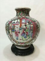 Vintage Large Chinese Famille Rose Medallion Porcelain Vase w/ Wooden Base