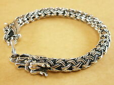 "Dragons Heads Bali Tuland Naga Wheat 925 Sterling Silver Bracelet 7mm 7.75"" 35g"
