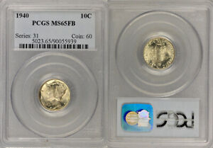 """1940 PCGS MS65FB SILVER MERCURY """"WINGED LIBERTY HEAD"""" DIME ! GREAT HIGHER GRADE!"""