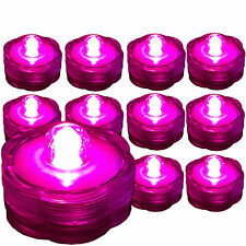 PINK Submersible Waterproof Underwater Wedding Battery LED Tea Light 10 Pack