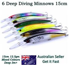 6 Deep Diving Minnow Fishing Lures Kingfish, Makerel, Tuna, Trevally, Snook 15cm