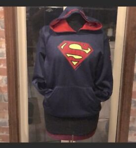 UNDER ARMOUR Cold Gear BLUE Red SUPERMAN Hoodie Sweatshirt Boy's Sz Youth Large