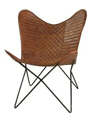 Sidney Butterfly Chair Iron Stand and Leather Cover Indoor Outdoor Chair