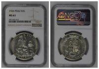 NGC Peru 1926 Un Sol Large Letters Silver Coin Mint Lustre MS61