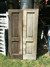 Vtg  Pair Architectural Salvage Solid Panel  wood  Shutters 55.5in x 16 Sides