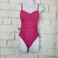 ABS Allen Schwartz size 4 Pink one piece Swimsuit swimwear ruched sides & front