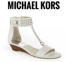 NWT Authentic Michael Kors Celena Low Heel Women's White Wedge Sandals Shoes 9