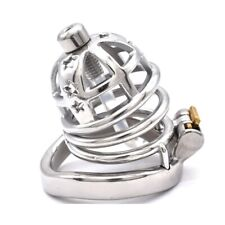 Male Medium Chastity Cage Stainless Steel Star Locking Belt Removable Tube CC327