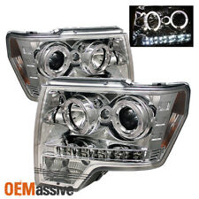 Fits 09-14 Ford F150 Pickup Truck Chrome Dual Halo Projector LED Headlights Lamp