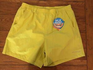 "Columbia PFG Men's Large Backcast III Water Shorts Mineral Yellow 6"" Inseam Swim"