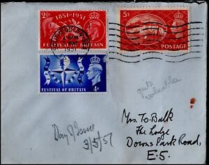 GB 1951 Festival FDC with 5/- KG VI Definitive