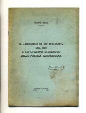"""B.Biral#""""DISCORSO DI UN ITALIANO"""" 1818 E SVILUPPO POETICA LEOPARDIANA#Estr.#1960"""