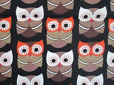 OWLS FOXY OWL BROWN CREAM COTTON FABRIC FQ