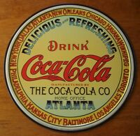 VINTAGE STYLE ROUND COCA COLA SIGN Coke Soda Pop Restaurant Retro Diner Decor