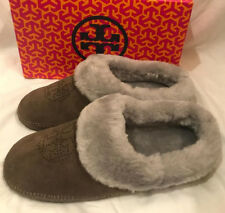 Tory Burch Coley Perforated Slippers Split Suede Shoes Elephant Gray Size 5 New