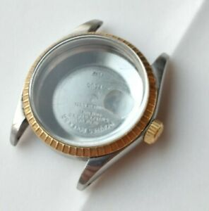 Case for rolex oyster perpetual date 1505  stainless steel  gold bezel nice