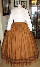 Civil War Dress~Victorian Style Elegant Cotton Warm Brown Skirt~Custom Waist