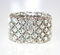 ANELLO ARGENTO STRASS donna elastico fedina fascia veretta cristalli ring F70