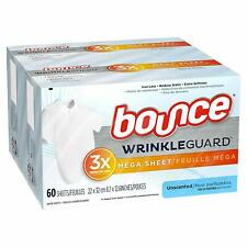 Bounce WrinkleGuard Mega Size Dryer Sheets, Unscented, 60 Count Box (2 Pack)