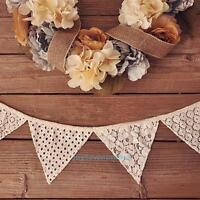 2.5M Vintage White Lace Flag Banner Bunting Wedding Birthday Party Home Decor