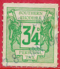 Southern Rhodesia 1961 3s4d green REVENUE Personal Tax fiscally used