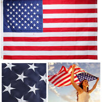 USA American Flag 3x5 FT Embroidered Stars Nylon Sewn Stripes Brass Grommets US