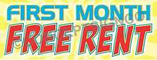 4'X10' FIRST MONTH FREE RENT BANNER Outdoor Signs XL Rentals Apartments Condos