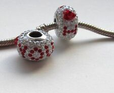 I LOVE YOU STERLING SILVER  RED & CLEAR CRYSTAL STONES CHARM BRACELET BEAD