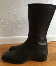 Robert Clergerie Brown Leather Mid-shaft Ankle Boot Shoes Flats 7.5.