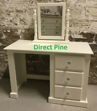SHAFTESBURY 3 DRAWER DRESSING TABLE CREAM/CRYSTAL HANDLES WITH MIRROR