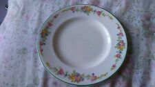 "WOODS IVORY WARE FLORAL GREEN BANDED SIDE PLATE 8"" DIA"