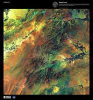 Science Map Satellite Afghanistan Mountain Rugged Replica Canvas Art Print