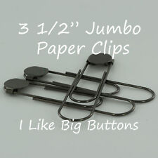 """12 GUNMETAL Jumbo/Giant Bookmarks 3 1/2"""" Paper Clips/Paperclips w/Glue Pad Black"""