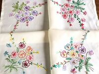 Vintage Hand Embroidered CREAM Linen TableCloth 32x33 INCHES