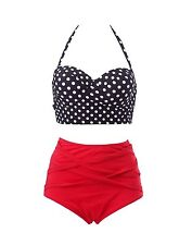 Lady Swimwear Retro Rockabilly Polka Dot High Waisted Bikini 50s Style Swimsuit