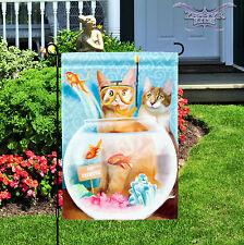 """Cat Patrol garden flag 12"""" x 18"""" Evergreen cat flag kitten flag"""