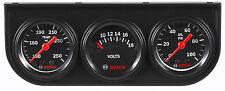 "Bosch Style Line Mechanical 1-1/2"" Mini Triple Gauge Kit Black / Black Bezel"