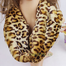 Fashion Womens Leopard Plush Brown Infinity Circle Loop Scarf Ladies Scarves New